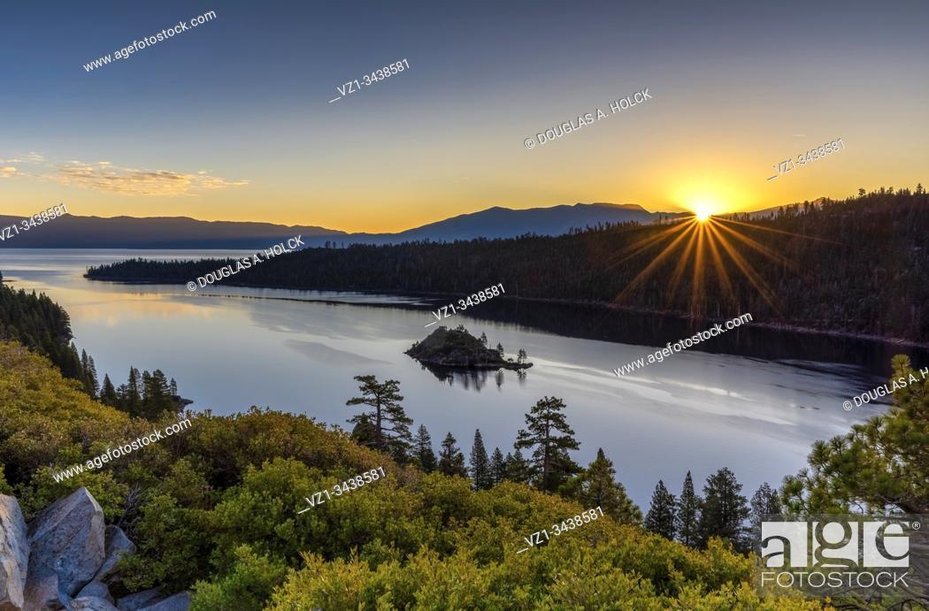 Stock Photo: Sunrise over Emerald Bay Lake Tahoe CA USA World Location.