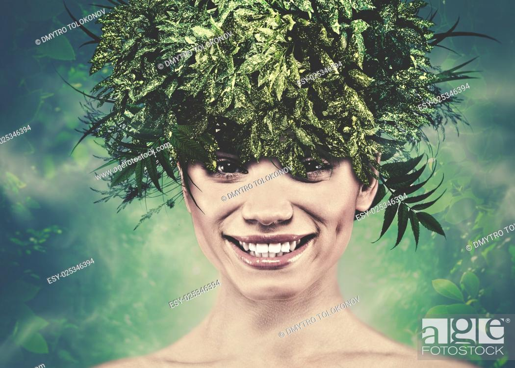 Stock Photo: Summer woman, funny female portrait for your design.