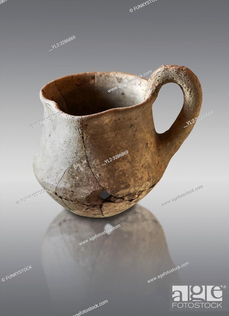 Stock Photo: Hittite terra cotta cult side handled spouted jug. Hittite Period 1650 - 1450 BC, Ortakoy Sapinuvwa . Çorum Archaeological Museum, Corum, Turkey.