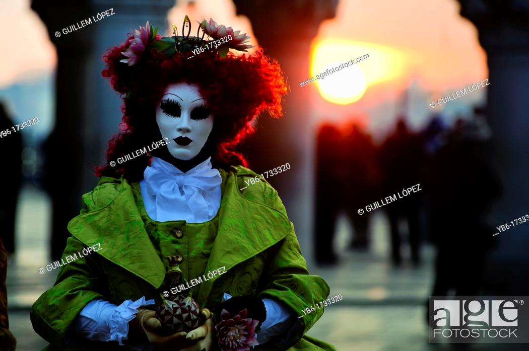 Stock Photo: Person wearing mask at the Carnival of Venice, Italy.