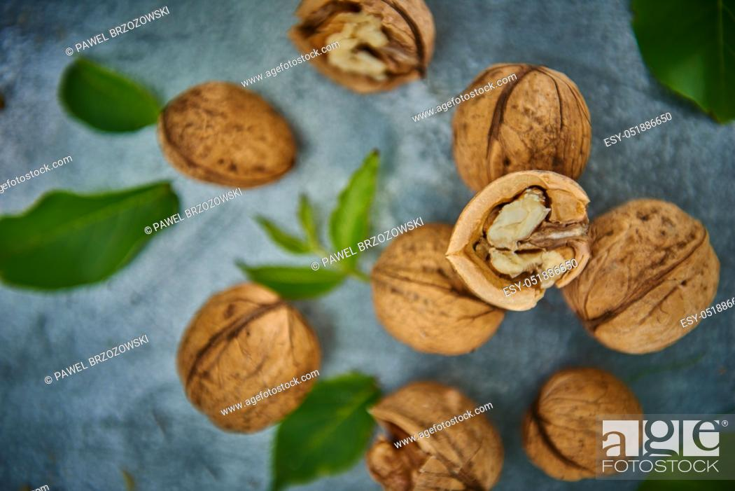 Stock Photo: Walnuts and leaves on gray background.