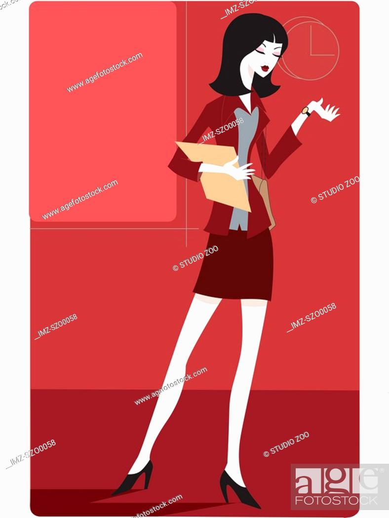 Stock Photo: Businesswoman looking at her watch.