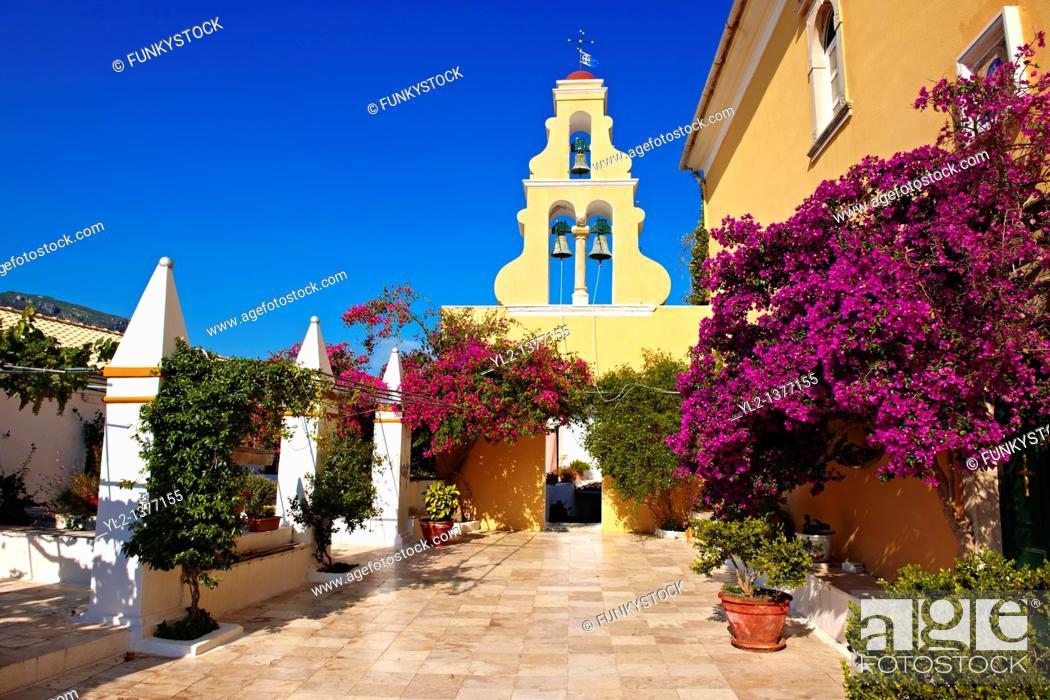 Stock Photo: Theotokos, Monastery, Paleokastitsa, 18th century Greek Orthodox  Corfu Ionian Island, Greece.