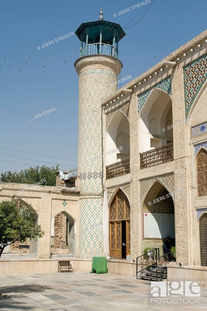 Stock Photo: Iran, Shiraz, Mosque Hafezieh Street Court inside.