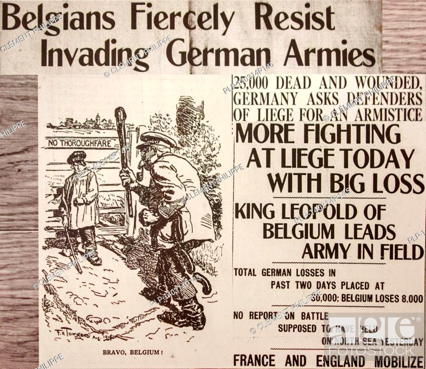 WWI newspaper article with cartoon in English paper