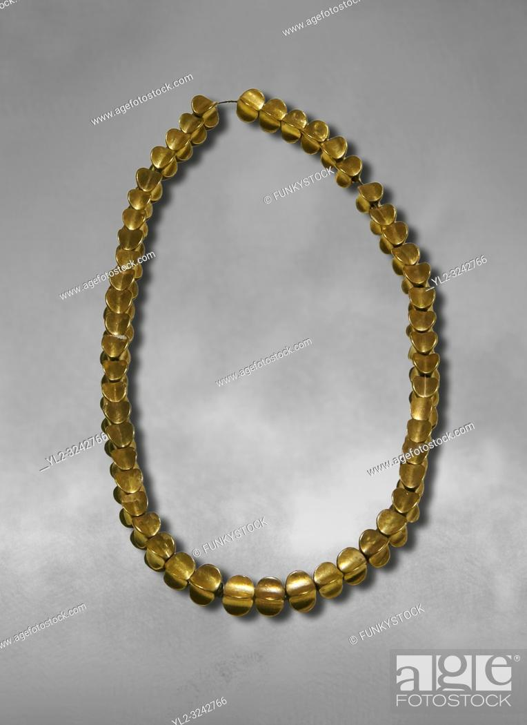 Stock Photo: Bronze Age Hattian gold necklace from Grave L, possibly a Bronze Age Royal grave (2500 BC to 2250 BC) - Alacahoyuk - Museum of Anatolian Civilisations, Ankara.