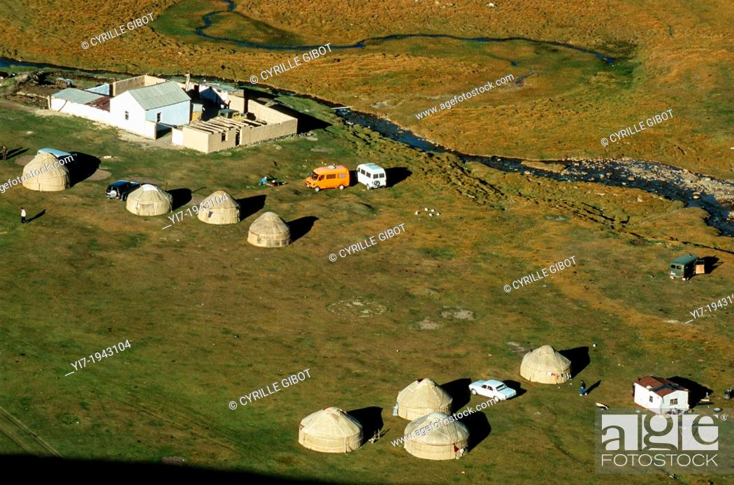 Stock Photo: Yurts in a meadow, Tash Rabat, Kyrgyzstan, Central Asia.