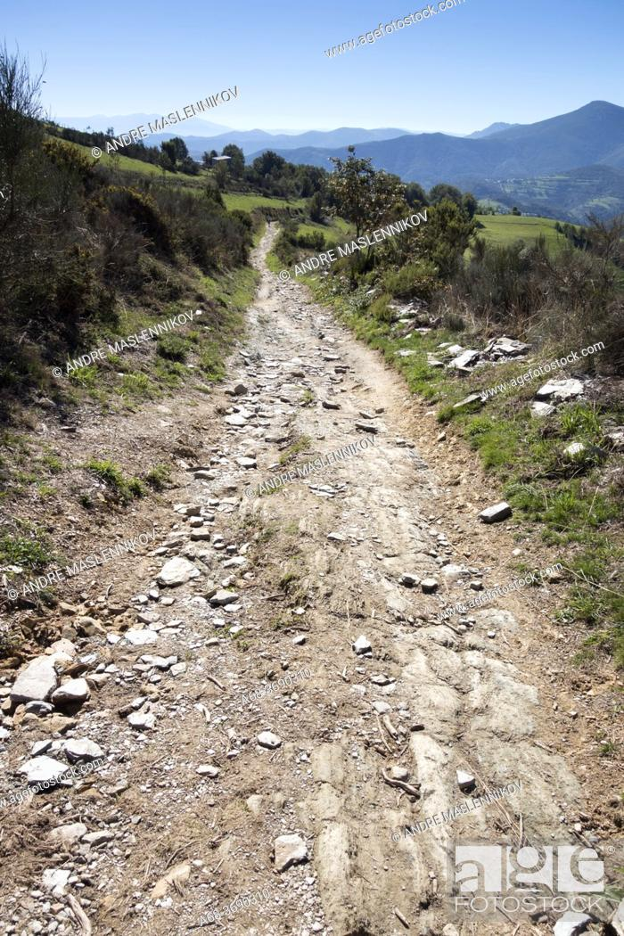 Stock Photo: The last hill before reaching the border between Galicia and Kastilja and Leon, Spain. Walking the Camino. Pilgrimage route to Santiago de Compostela.