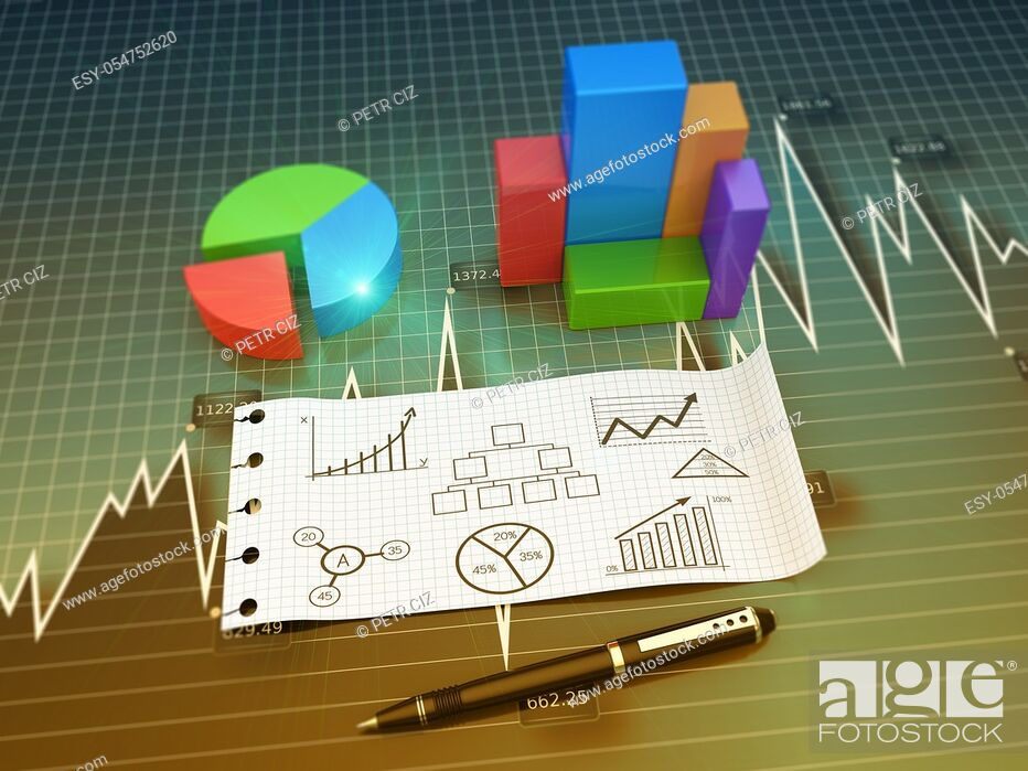 Stock Photo: Financial and business chart and graphs.
