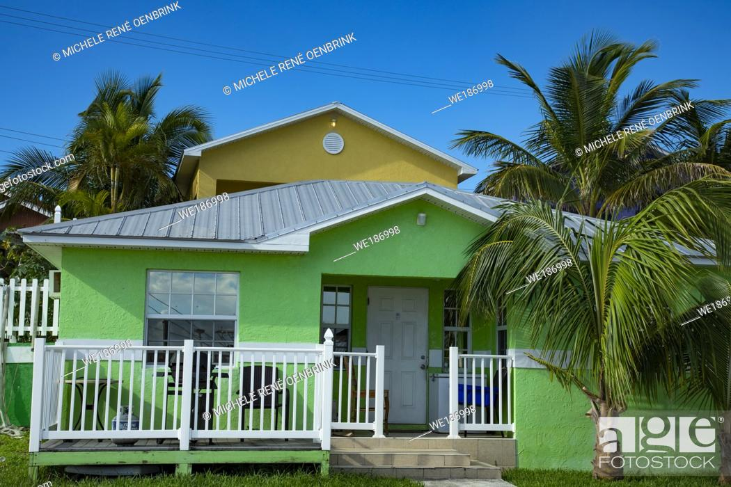 Stock Photo: Colorful hotel at Rosieâ. . s Place Grand Cay Abacos Bahamas.