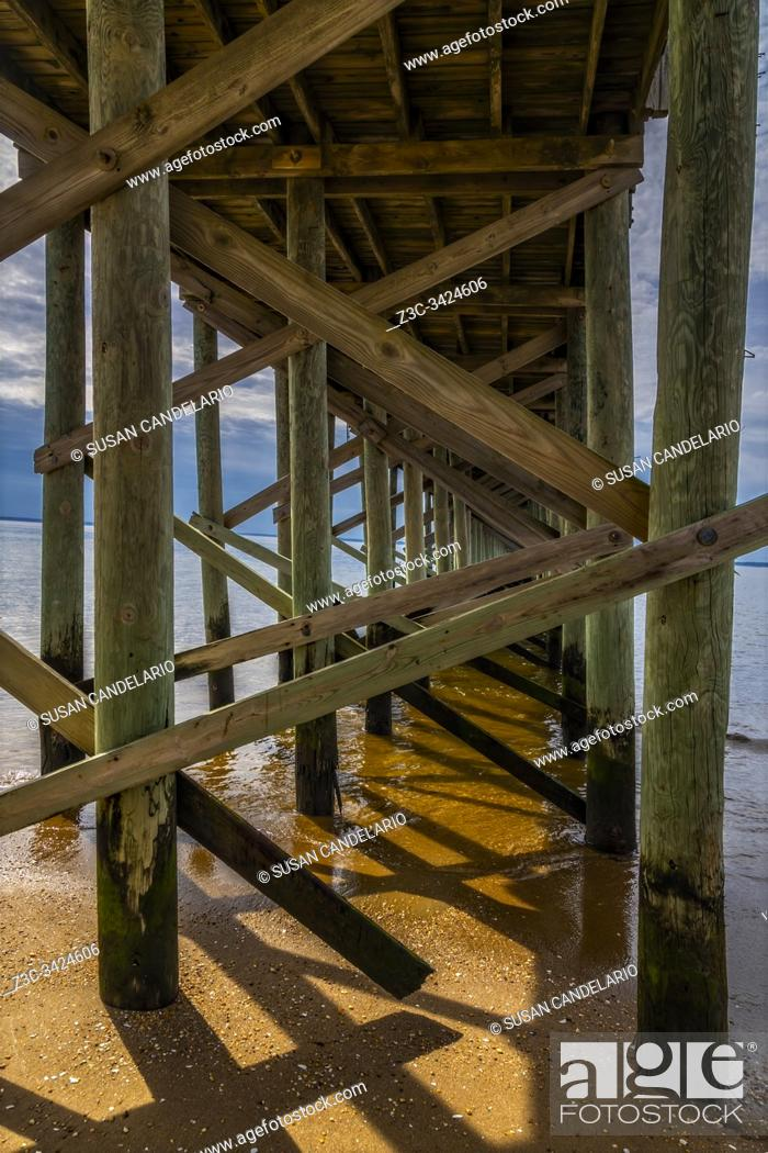 Stock Photo: Keansburg NJ Pier View to the 2000 foot fishing pier overlooking the Raritan Bay.