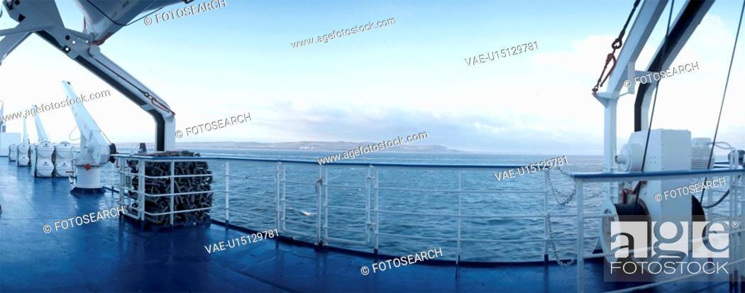 Stock Photo: balustrade, blue, christoph, day, horizon, ocean.