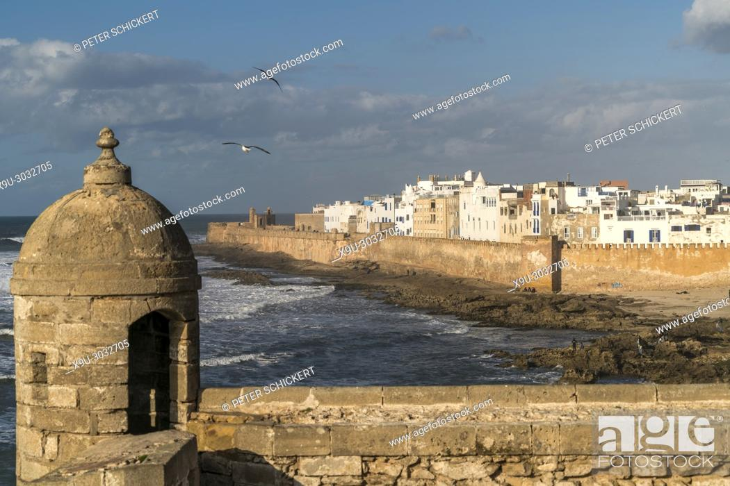 Stock Photo: fortress Scala du Port and the medina in Essaouira, Kingdom of Morocco, Africa.