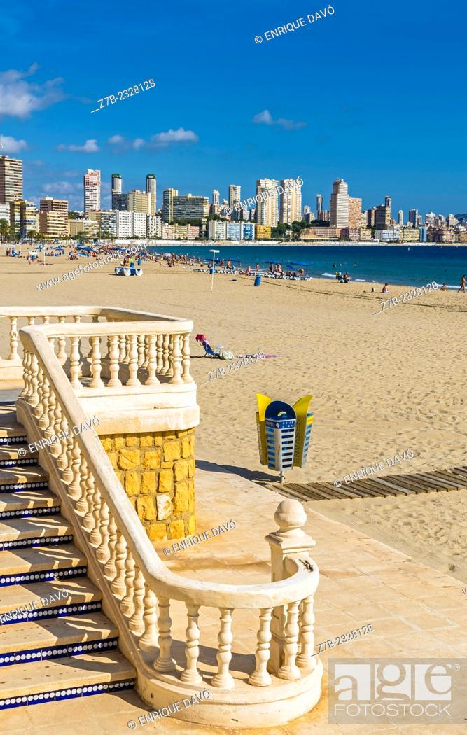 Stock Photo: A white stairs in the beach of Benidorm, Alicante north, Spain.