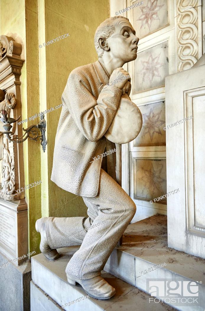 Stock Photo: Picture and image of the Realistic blind man stone funary monument sculpture commissioned by Enrico Amerigo for his sisters memory.