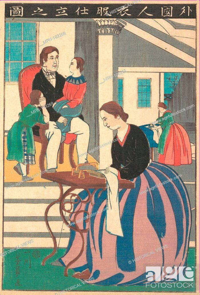 Stock Photo: Gaikokujin ifuku shitate no zu/Picture of a Foreigner Making Clothes. Artist: Utagawa Yoshikazu (Japanese, active ca. 1850-1870); Period: Edo period.