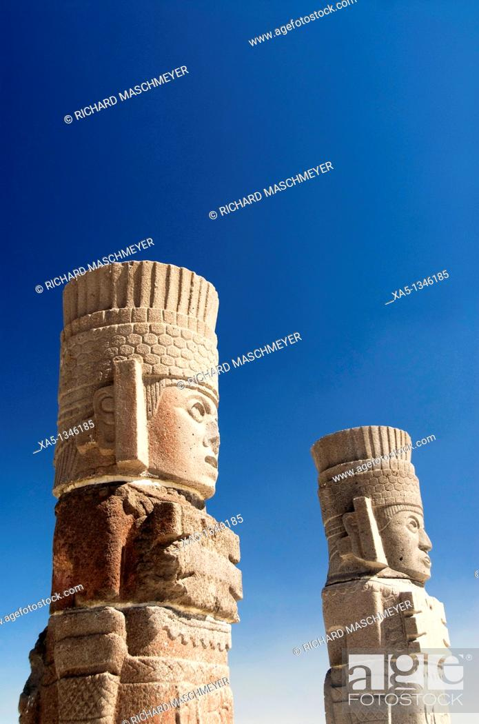 Stock Photo: Temple of Quetzalcoatl, Atlantes warrior statues, Archaeological Zone of Tula the probable capital of the Toltec civilization, Tula de Allende, Hidalgo, Mexico.
