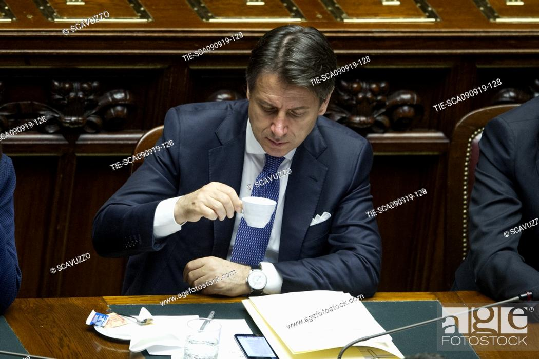 Stock Photo: Italian Premier Giuseppe Conte during his address to the House of Representatives ahead of a confidence vote, in Rome, Italy, 09 September 2019.