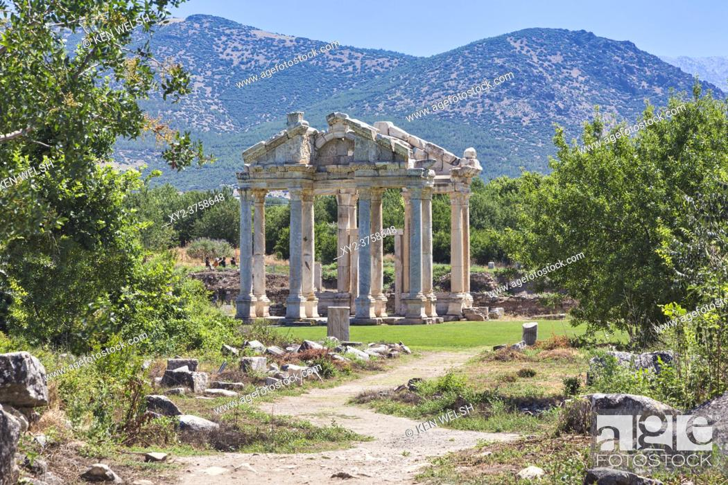 Stock Photo: Ruins of Aphrodisias, Aydin Province, Turkey. 2nd century gateway known as the Tetrapylon. Aphrodisias, which is a UNESCO World Heritage Site.