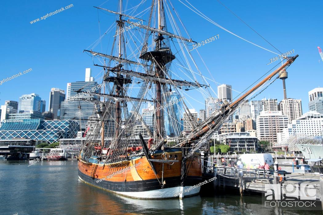Stock Photo: HM Bark Endeavour Replica Ship at Darling Harbour in Sydney.