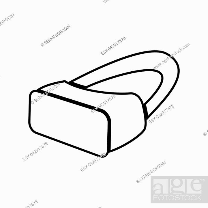 Stock Vector: VR glasses it is black color icon .