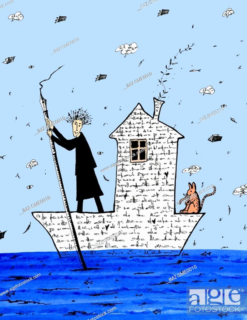 Photo de stock: A person sailing a boat made of words.
