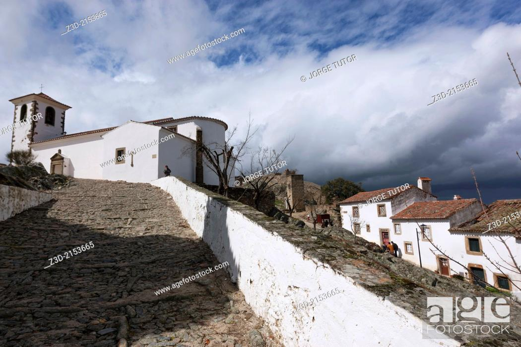 Stock Photo: Church of Santiago and white houses, Marvao, Region Alentejo, Portugal.