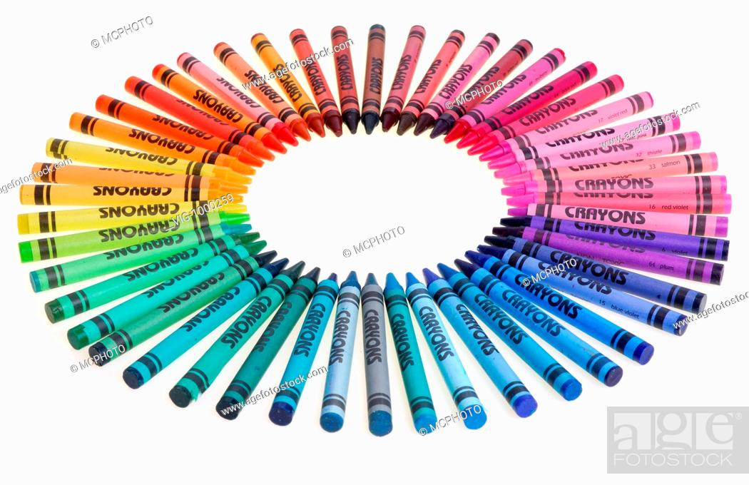 color wheel of crayons side view 12 03 2006 stock photo picture