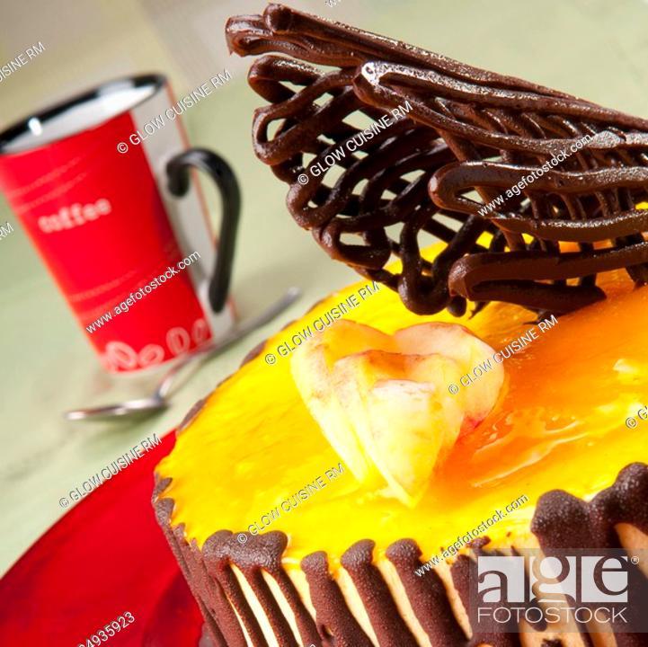Stock Photo: Close-up of chocolate garnish on lemon flan cake.