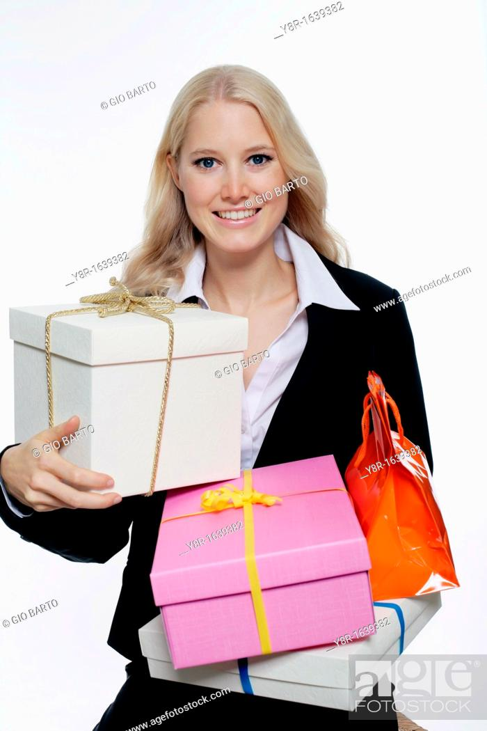 Stock Photo: woman with gifts.