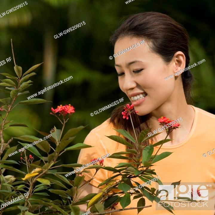 Stock Photo: Young woman smiling in a park.