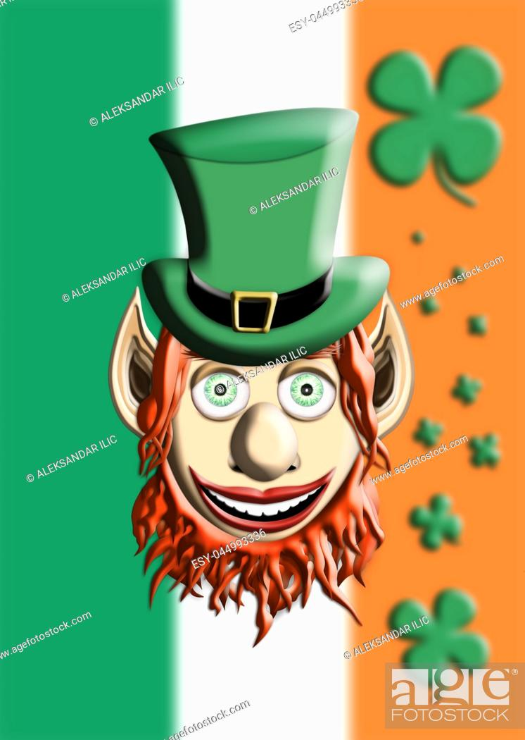 Imagen: St Patrick's Day. Leprechaun With Green Hat Against Irish Flag and Four Leaf Clover Background 3D illustration.