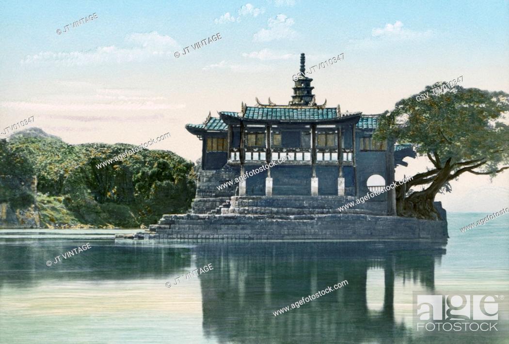 Stock Photo: Island Temple of Jinshan, Min River, Fuzhou, China, Hand-Colored Lantern Slide by John Thomson, Newton & Company, 1870.