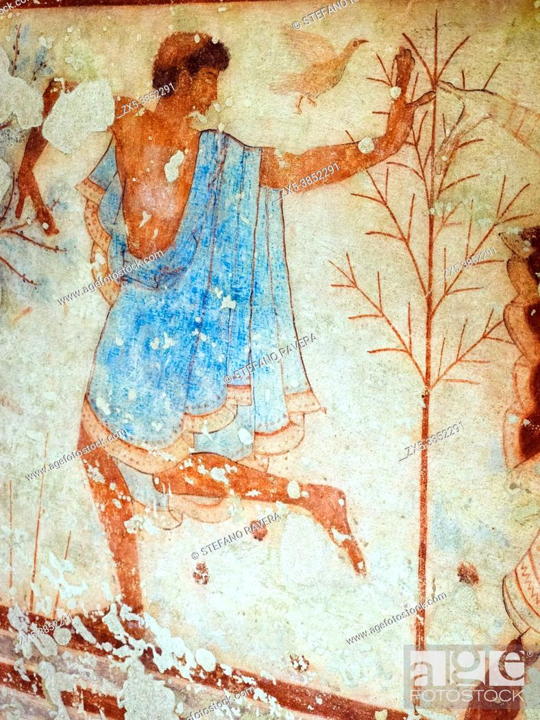 Stock Photo: Fresco painted wall detail in Tomba del Triclinio (. Tomb of the Triclinium) 5th century BC - Tarquinia National Archaeological Museum, Italy.