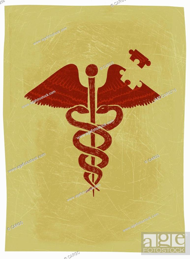 Stock Photo: A caduceus with a puzzle piece missing from it.