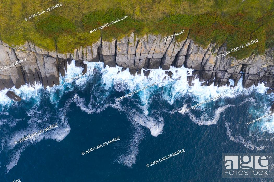 Stock Photo: Aerial View, Cala Cotonera, Islares, Castro Municipality, The Way of Saint James, Cantabrian Sea, Cantabria, Spain, Europe.
