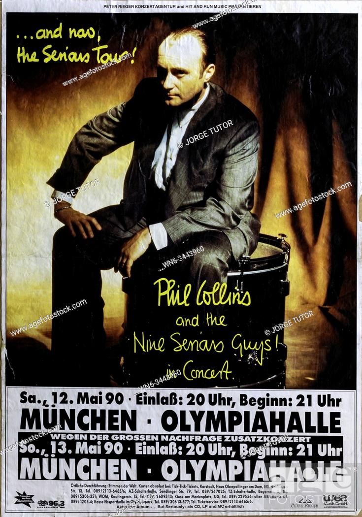 Stock Photo: Phil Collins Serious Tour Munich 1990, Musical concert poster.