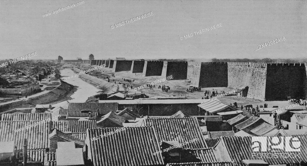 Stock Photo: Beijing walls during the Boxer Rebellion in 1900, Picture from the French weekly newspaper l'Illustration, 7th July 1900.