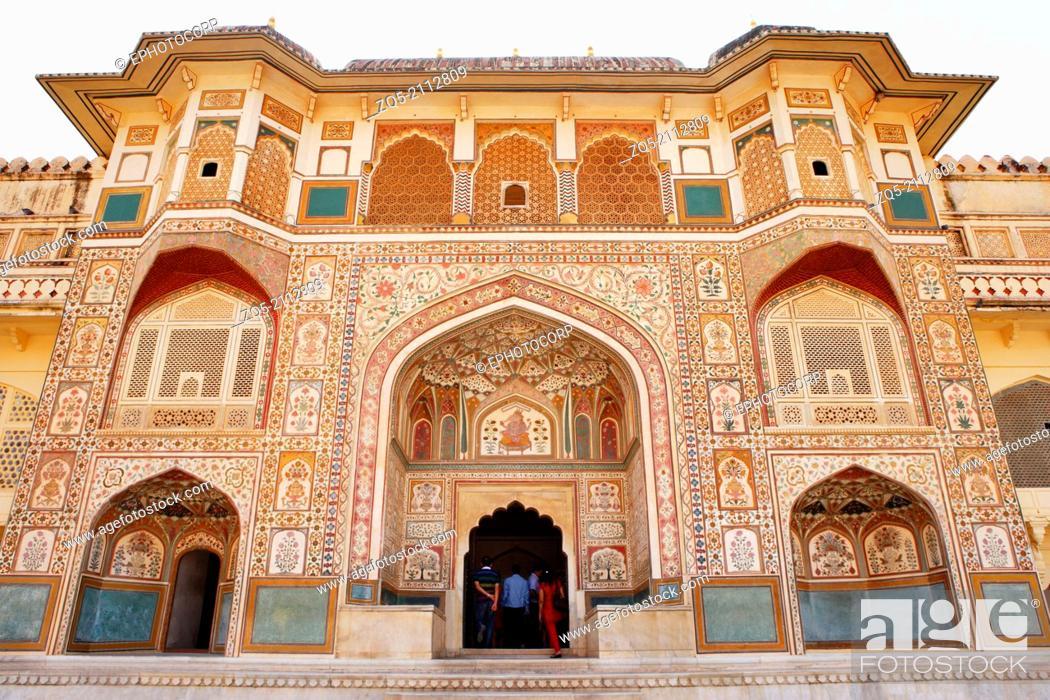 Stock Photo: Ganesh Pol or the Ganesh Gate, Amber fort, Rajasthan, Jaipur, India.