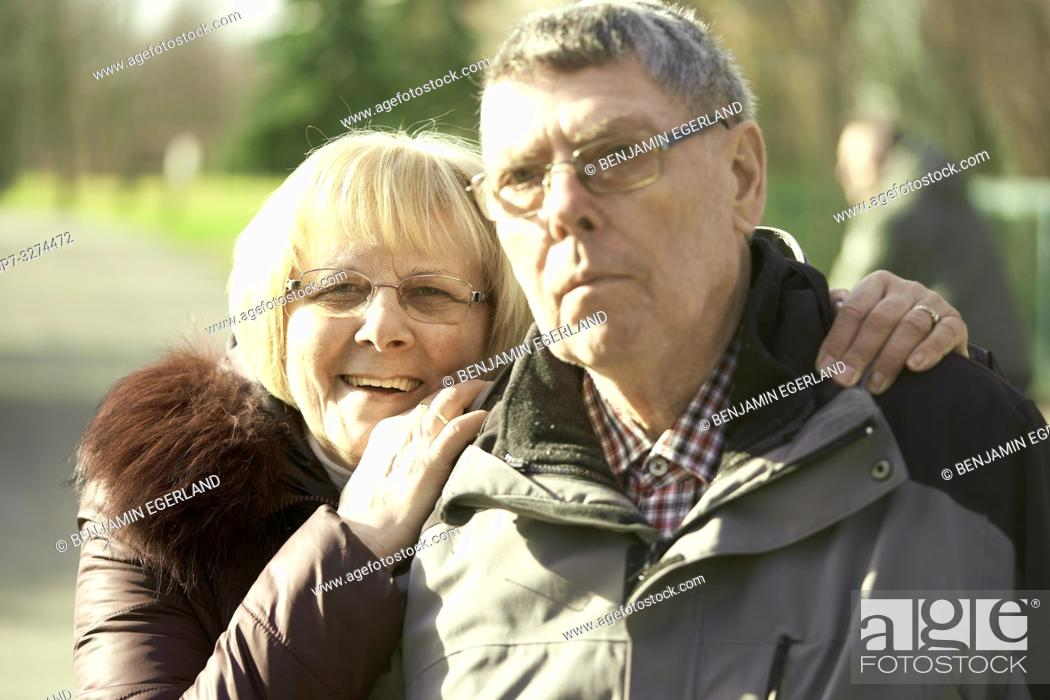 Stock Photo: senior couple together in park, in Cottbus, Brandenburg, Germany.