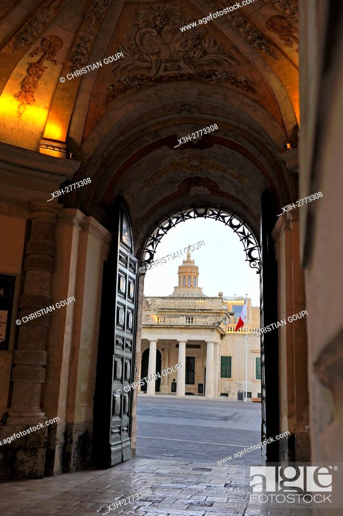 Stock Photo: Main Guard building seen from the gate entrance of Grandmaster's Palace, Valletta, Malta, Southern Europe.