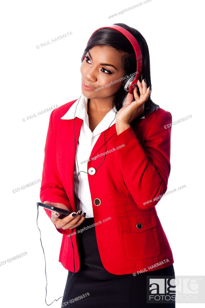 Stock Photo: Beautiful happy business woman listening to podcast or music on wireless mobile phone, on white.