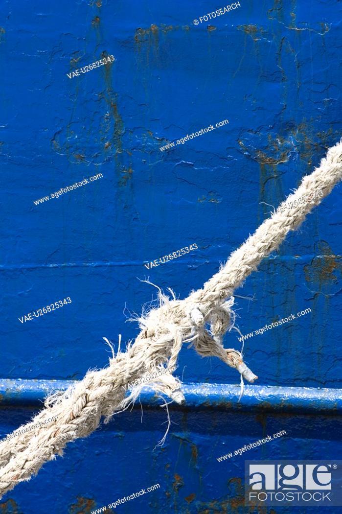 Stock Photo: Blue, Boat, Close-Up, Damaged, Day.
