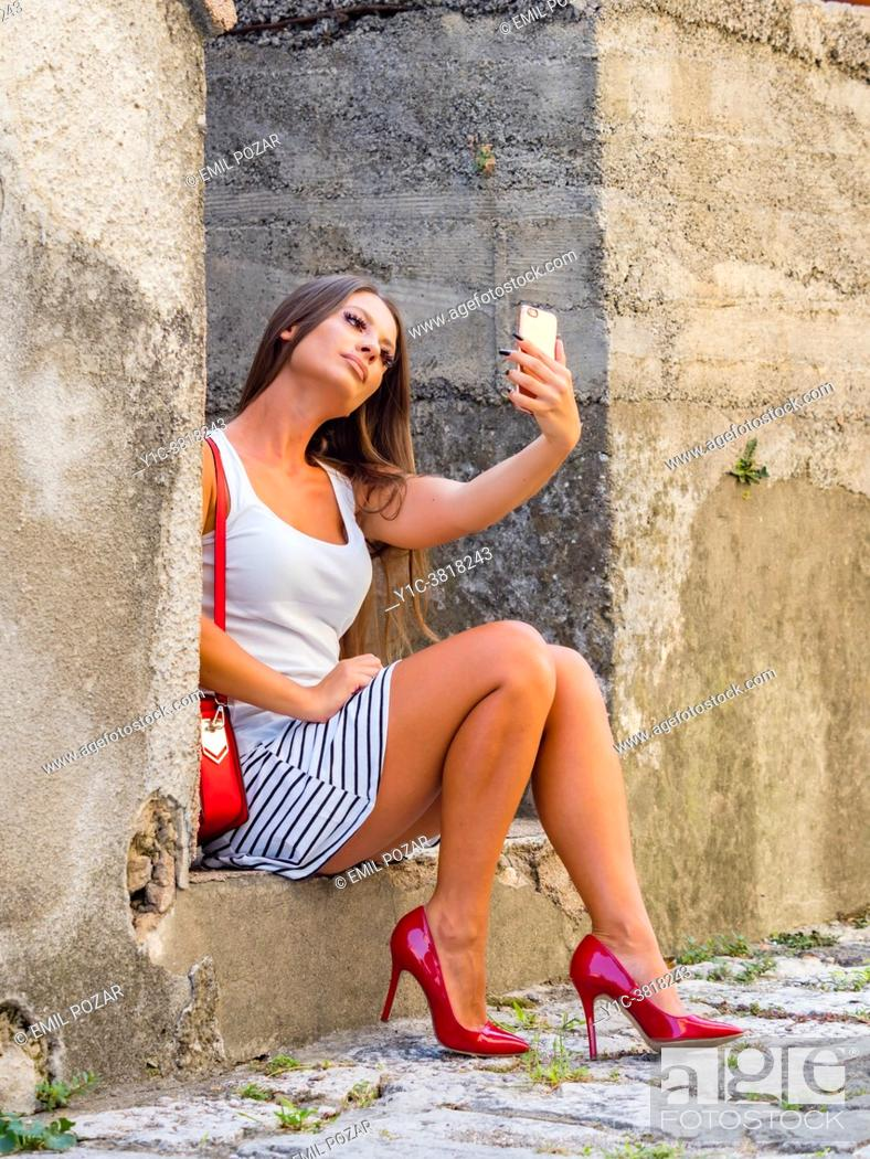 Stock Photo: Young woman selfie.