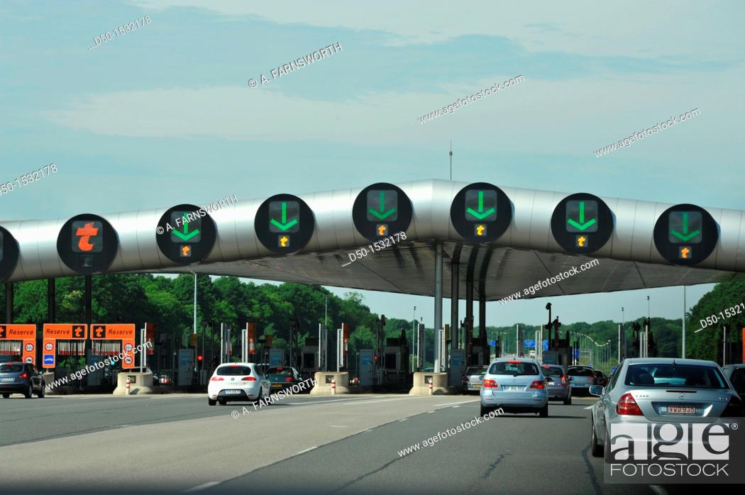 Stock Photo: FRANCE A20 Autoroute and toll booth.