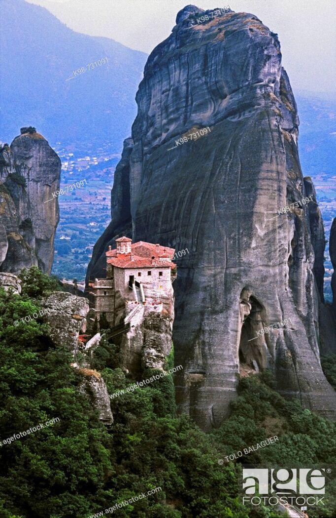 Stock Photo: Greek Orthodox Holy Monastery of Rousanou or St Barbara, Meteora. Thessaly, Greece.