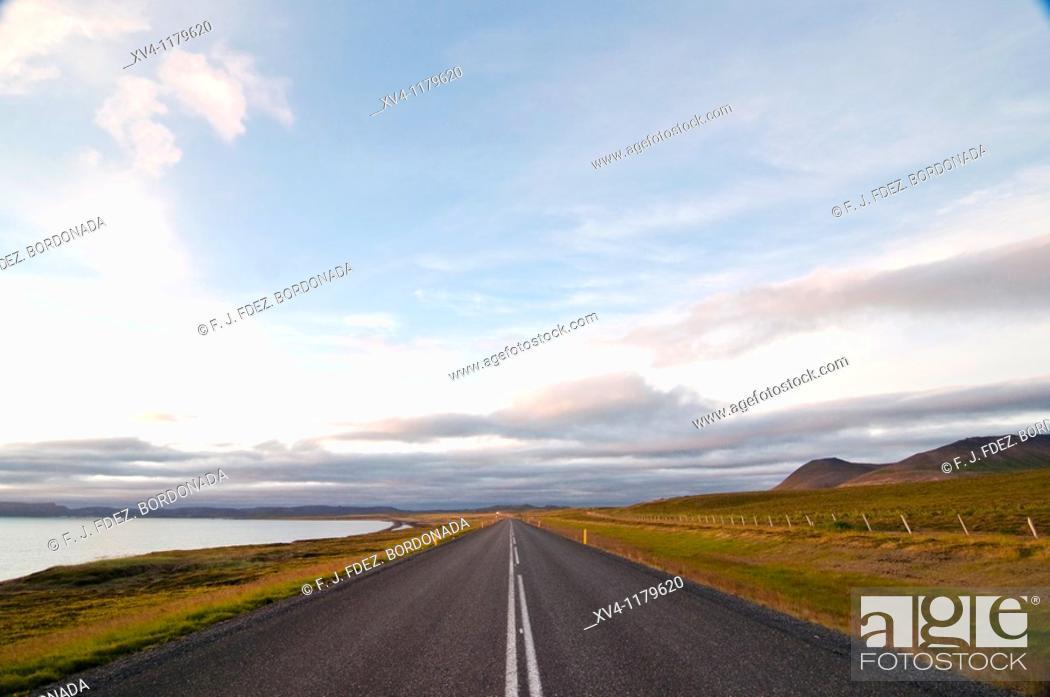 Stock Photo: Oxarfjordur coastline road  North Iceland.