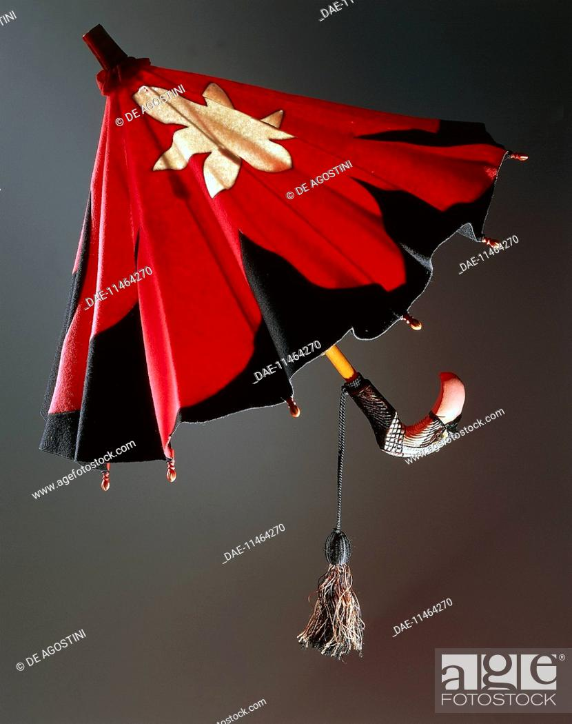 Parasol In Red And Black Felt With White Splash Decoration And Bird