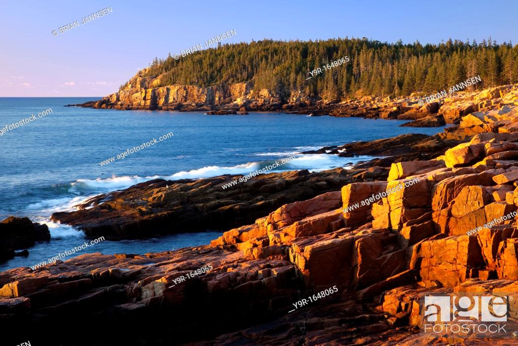 Stock Photo: Early morning at Otter Cliffs along the coastline of Acadia National Park, Maine, USA.