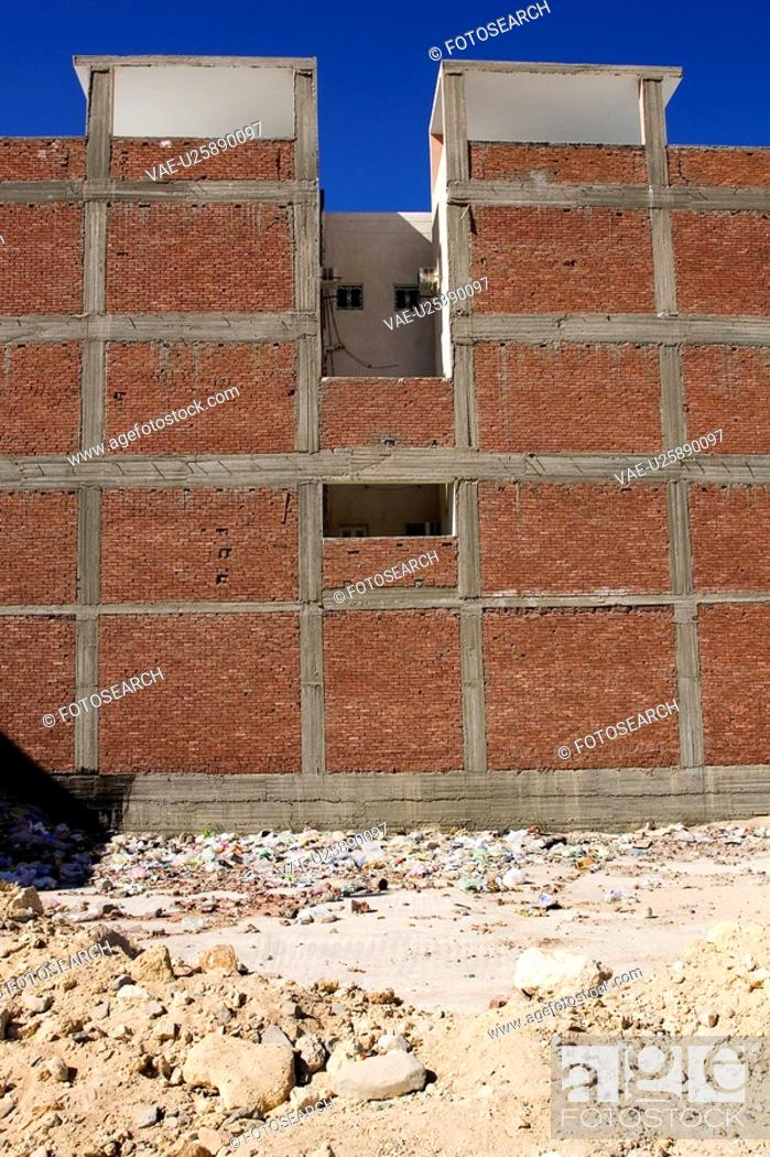 Stock Photo: Brick Wall, Building, Building Exterior, Building Structure, Construction Site.